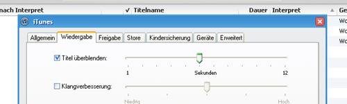 """""""Titel überblenden"""" aktiviert in den iTunes Einstellung"""