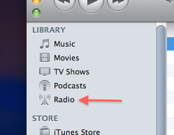 Predefined radio stations in the iTunes library