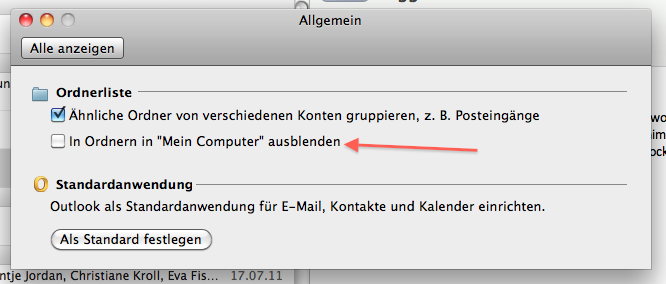"""Option to show or hide the """"On my computer"""" folder(s)."""