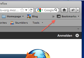 Bookmarks button on the bookmarks toolbar in Firefox