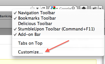 Customizing Firefox' toolbar