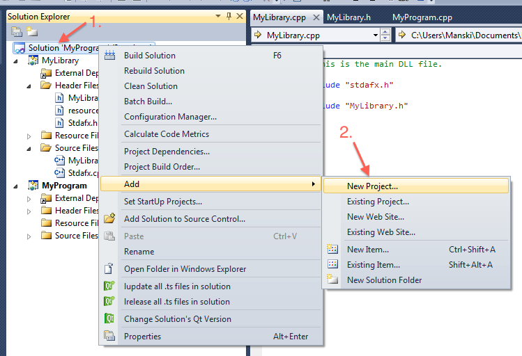 Adding a new project by using the context menu