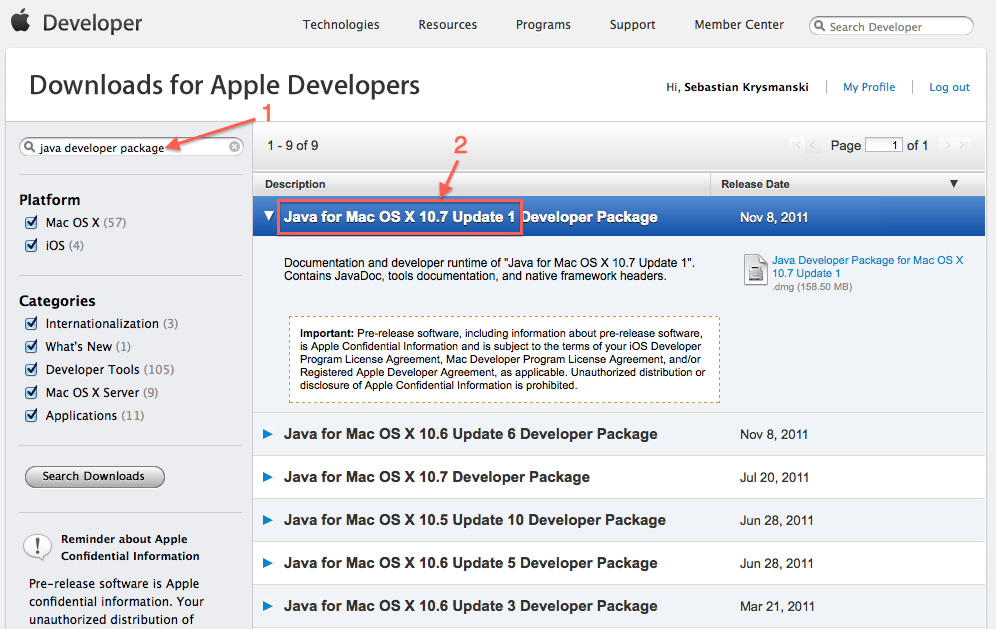 Downloading the JDK from Apple's website