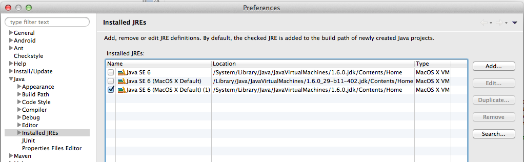 "The ""Installed JREs"" list after hitting ""Search...""."
