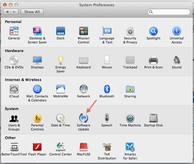 Software Update in the Mac OS X System Preferences