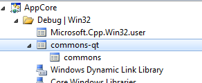 "The property sheet ""commons"" is inherited by ""commons-qt""."