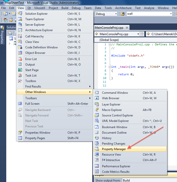 """Property Manager"" in Visual Studio's menu"
