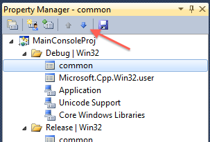 Down button in Property Manager's toolbar