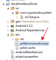 Location of the automatically generated .jar file