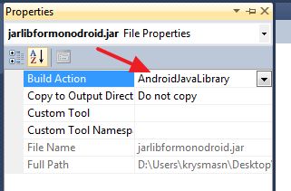 "Setting the jar's ""Build Action"" to ""AndroidJavaLibrary"""