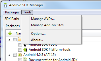 Options menu item in Android SDK Manager
