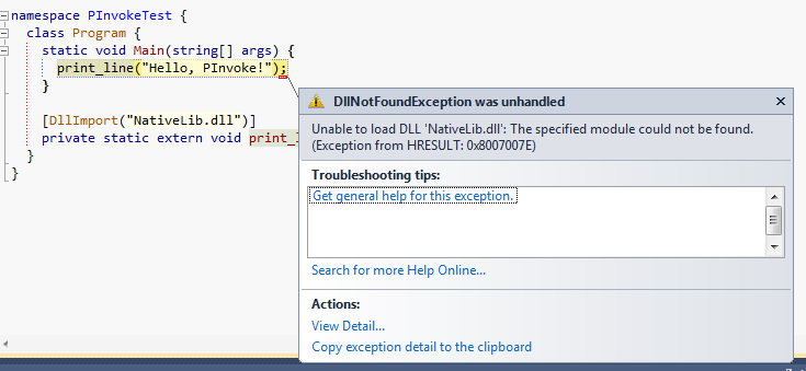 DllNotFoundException popup in Visual Studio 2010