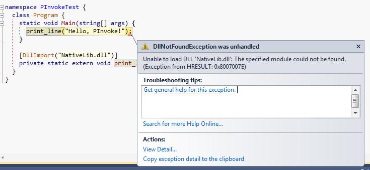 DllNotFoundException popup in Visual Studio 2010