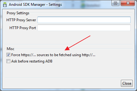 Force SDK manager to download via http