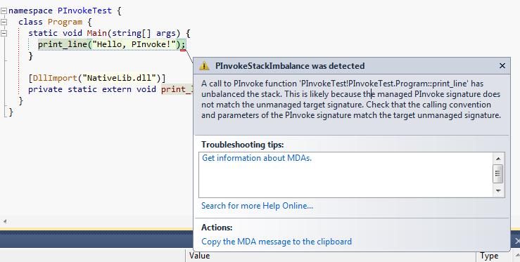 P/Invoke Stack imbalance popup in Visual Studio 2010