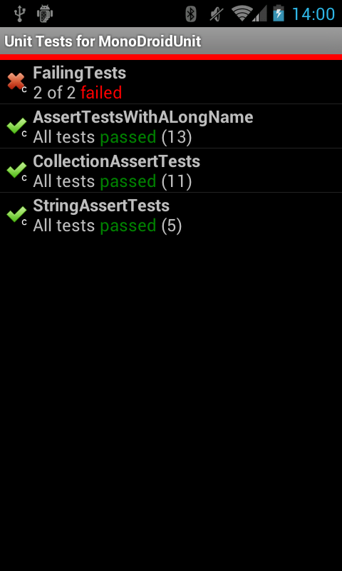 Overview over all tests