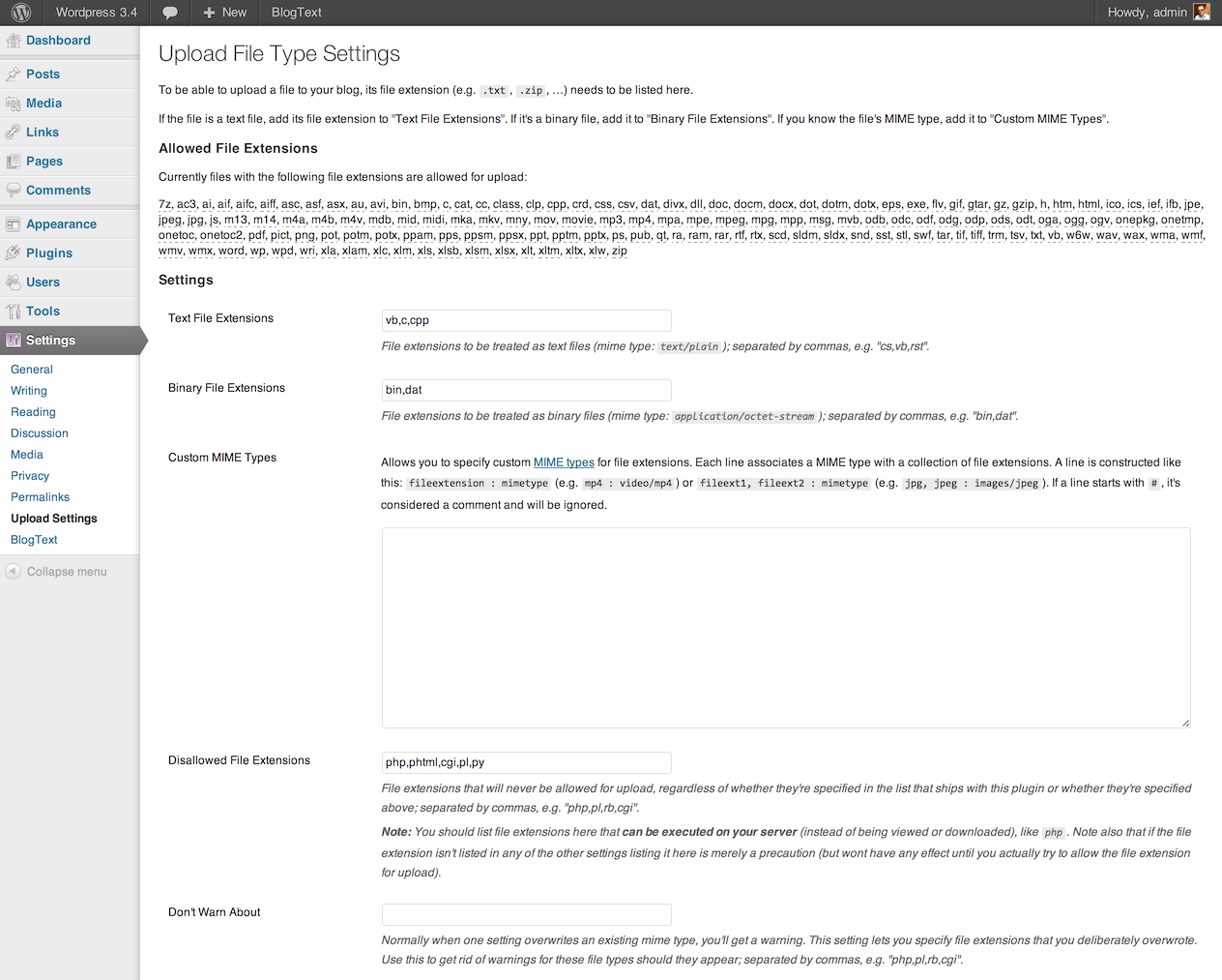 The plugin's settings page.