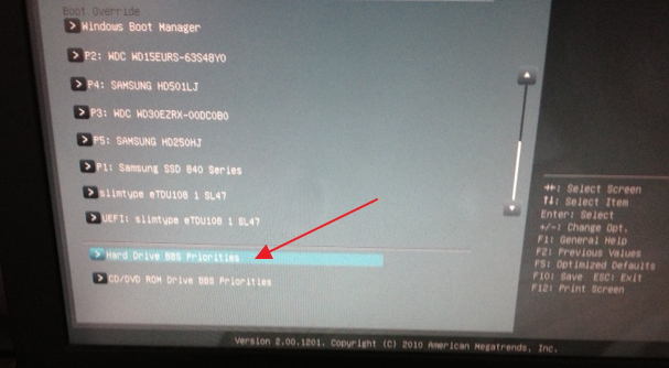 Example of a boot order menu item in a BIOS