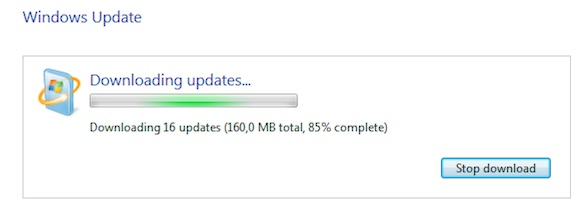 Indeterminate progress bar on download progress in Windows Update