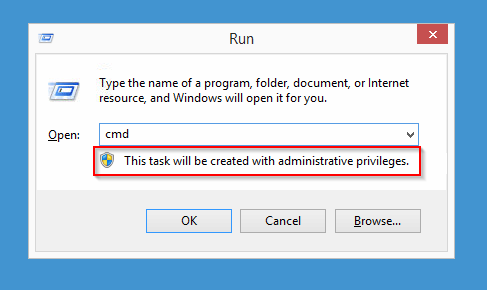 "Windows' ""Run"" dialog with UAC disabled."